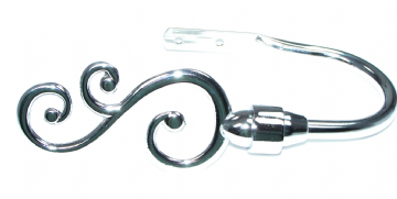 Polished Chrome Swirl Curtain Tiebacks / Holdbacks.